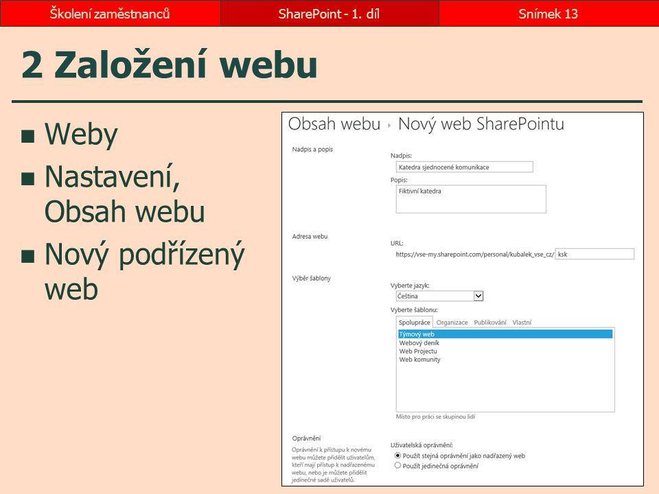 2 Založení webu Weby Nastavení, Obsah webu Nový podřízený web SharePoint - 1. dílSnímek 13Školení zaměstnanců