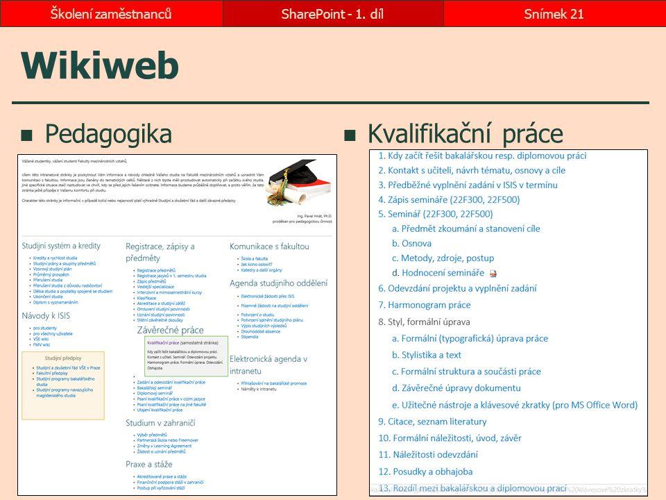 Wikiweb Pedagogika Kvalifikační práce SharePoint - 1. dílSnímek 21Školení zaměstnanců