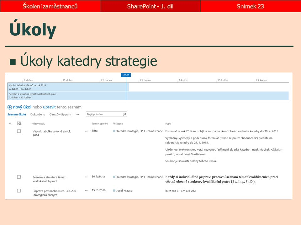 Úkoly Úkoly katedry strategie SharePoint - 1. dílSnímek 23Školení zaměstnanců