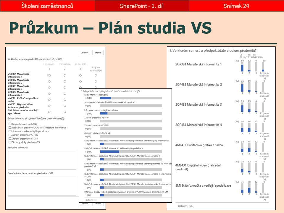 Průzkum – Plán studia VS SharePoint - 1. dílSnímek 24Školení zaměstnanců
