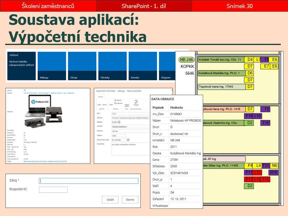 Soustava aplikací: Výpočetní technika SharePoint - 1. dílSnímek 30Školení zaměstnanců