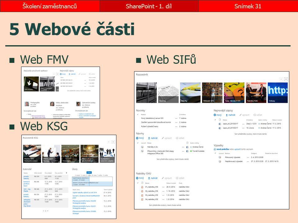 5 Webové části Web FMV Web KSG Web SIFů SharePoint - 1. dílSnímek 31Školení zaměstnanců