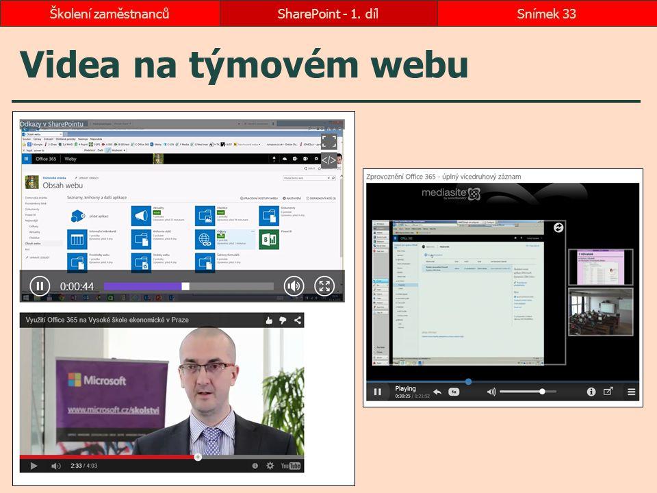 Videa na týmovém webu SharePoint - 1. dílSnímek 33Školení zaměstnanců