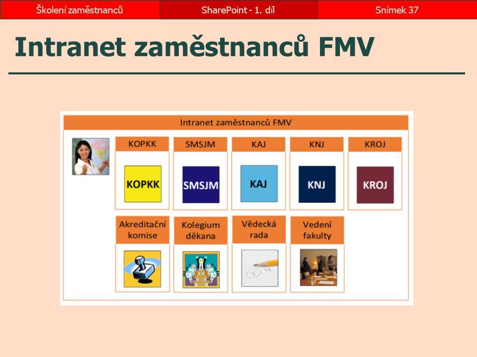 Intranet zaměstnanců FMV SharePoint - 1. dílSnímek 37Školení zaměstnanců