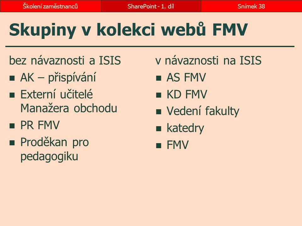 Skupiny v kolekci webů FMV bez návaznosti a ISIS AK – přispívání Externí učitelé Manažera obchodu PR FMV Proděkan pro pedagogiku v návaznosti na ISIS