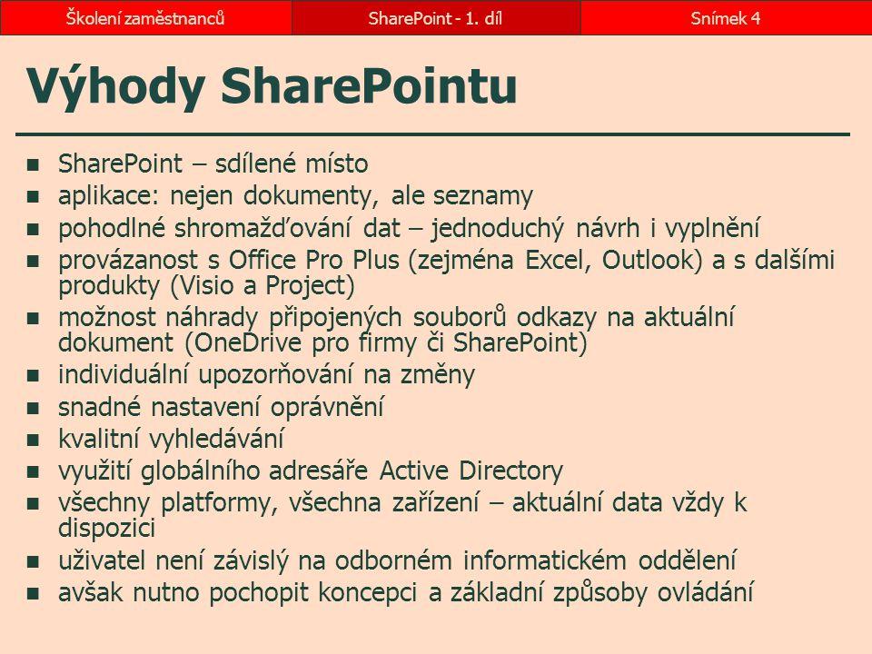 Výhody SharePointu SharePoint - 1. dílSnímek 4Školení zaměstnanců SharePoint – sdílené místo aplikace: nejen dokumenty, ale seznamy pohodlné shromažďo