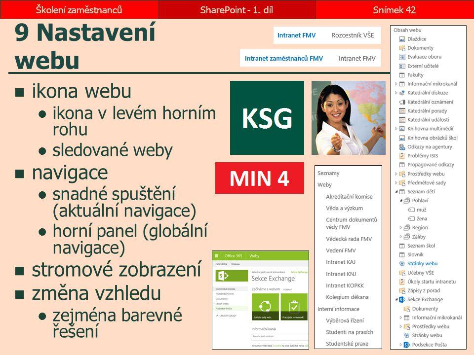 9 Nastavení webu ikona webu ikona v levém horním rohu sledované weby navigace snadné spuštění (aktuální navigace) horní panel (globální navigace) stro