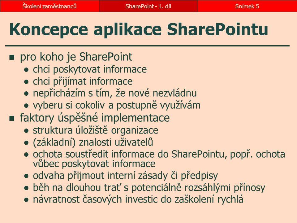 Koncepce aplikace SharePointu pro koho je SharePoint chci poskytovat informace chci přijímat informace nepřicházím s tím, že nové nezvládnu vyberu si