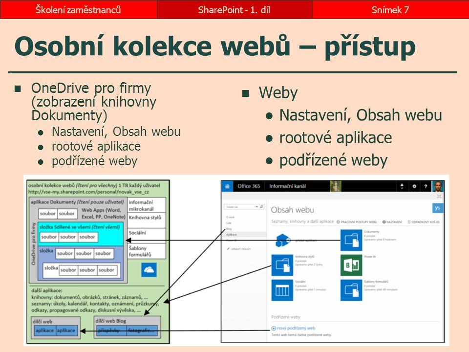 Osobní kolekce webů – přístup OneDrive pro firmy (zobrazení knihovny Dokumenty) Nastavení, Obsah webu rootové aplikace podřízené weby Weby Nastavení,
