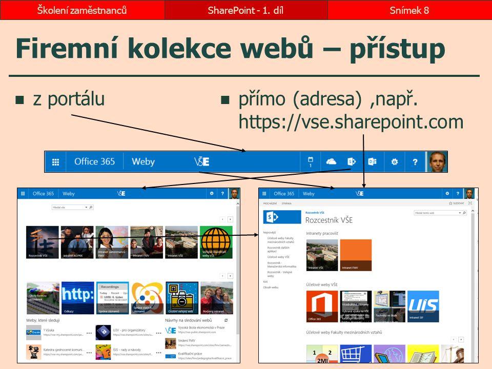 Firemní kolekce webů – přístup z portálu přímo (adresa),např. https://vse.sharepoint.com SharePoint - 1. dílSnímek 8Školení zaměstnanců
