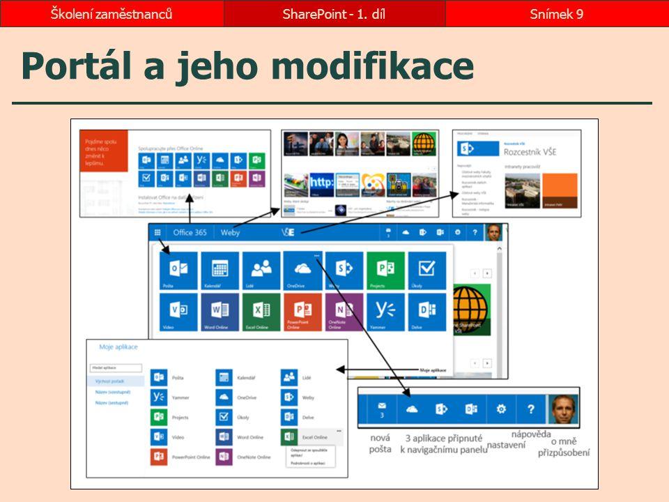 Portál a jeho modifikace SharePoint - 1. dílSnímek 9Školení zaměstnanců
