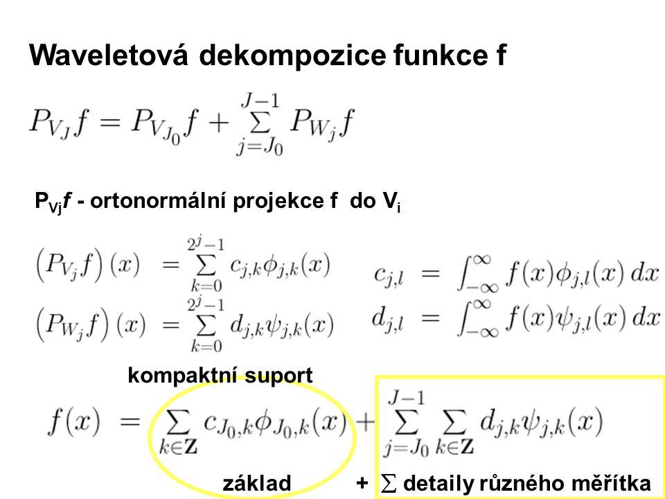 Waveletová dekompozice funkce f P Vj f - ortonormální projekce f do V i základ +  detaily různého měřítka kompaktní suport