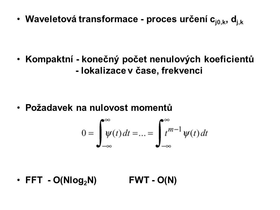 Kompaktní - konečný počet nenulových koeficientů - lokalizace v čase, frekvenci Waveletová transformace - proces určení c j0,k, d j,k Požadavek na nulovost momentů FFT - O(Nlog 2 N) FWT - O(N)