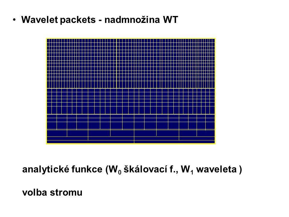 analytické funkce (W 0 škálovací f., W 1 waveleta ) volba stromu (snižování entropie) Wavelet packets - nadmnožina WT