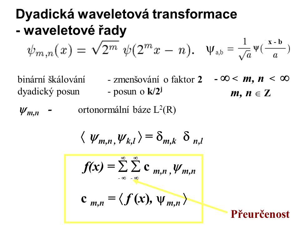 Dyadická waveletová transformace - waveletové řady -  < m, n <  m, n  Z Přeurčenost binární škálování - zmenšování o faktor 2 dyadický posun - posun o k/2 j  m,n - ortonormální báze L 2 (R)   m,n,  k,l  =  m,k  n,l f(x) =   c m,n,  m,n c m,n =  f (x),  m,n  -     a,b  x - b