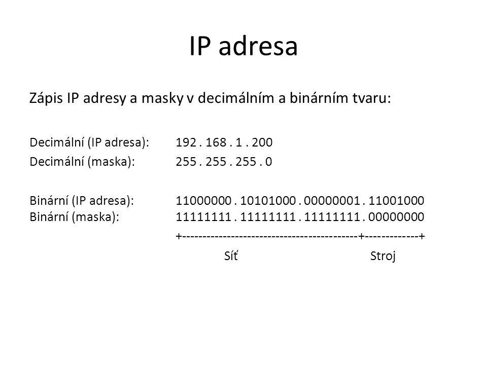 IP adresa Zápis IP adresy a masky v decimálním a binárním tvaru: Decimální (IP adresa): 192. 168. 1. 200 Decimální (maska): 255. 255. 255. 0 Binární (