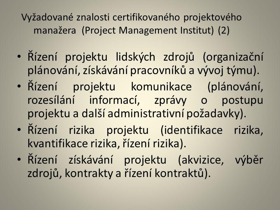 Vyžadované znalosti certifikovaného projektového manažera (Project Management Institut) (2) Řízení projektu lidských zdrojů (organizační plánování, zí