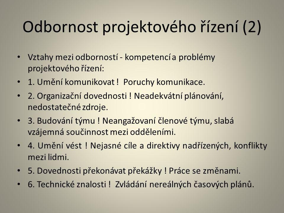 Odbornost projektového řízení (2) Vztahy mezi odborností - kompetencí a problémy projektového řízení: 1. Umění komunikovat ! Poruchy komunikace. 2. Or
