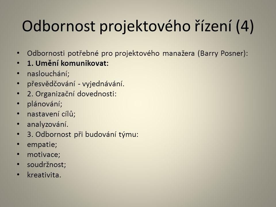 Odbornost projektového řízení (4) Odbornosti potřebné pro projektového manažera (Barry Posner): 1. Umění komunikovat: naslouchání; přesvědčování - vyj