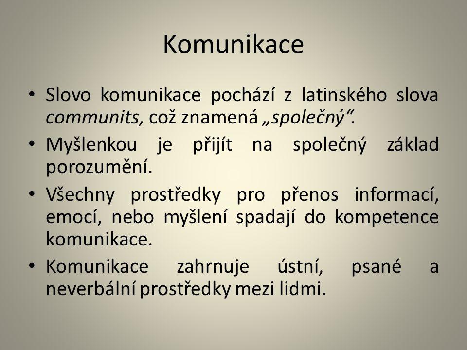 """Komunikace Slovo komunikace pochází z latinského slova communits, což znamená """"společný"""". Myšlenkou je přijít na společný základ porozumění. Všechny p"""