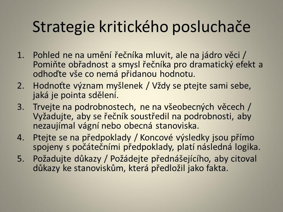 Strategie kritického posluchače 1.Pohled ne na umění řečníka mluvit, ale na jádro věci / Pomiňte obřadnost a smysl řečníka pro dramatický efekt a odho