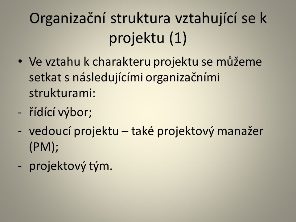 Organizační struktura vztahující se k projektu (2) – Řídící výbor Má smysl u velkých a významných projektů.