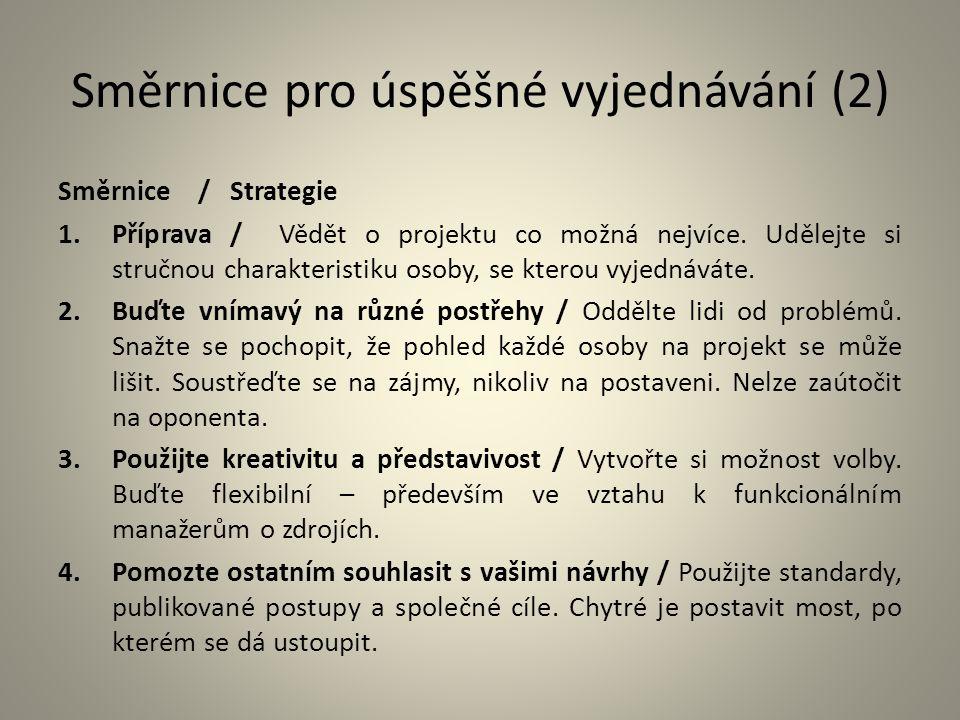 Směrnice pro úspěšné vyjednávání (2) Směrnice / Strategie 1.Příprava / Vědět o projektu co možná nejvíce. Udělejte si stručnou charakteristiku osoby,