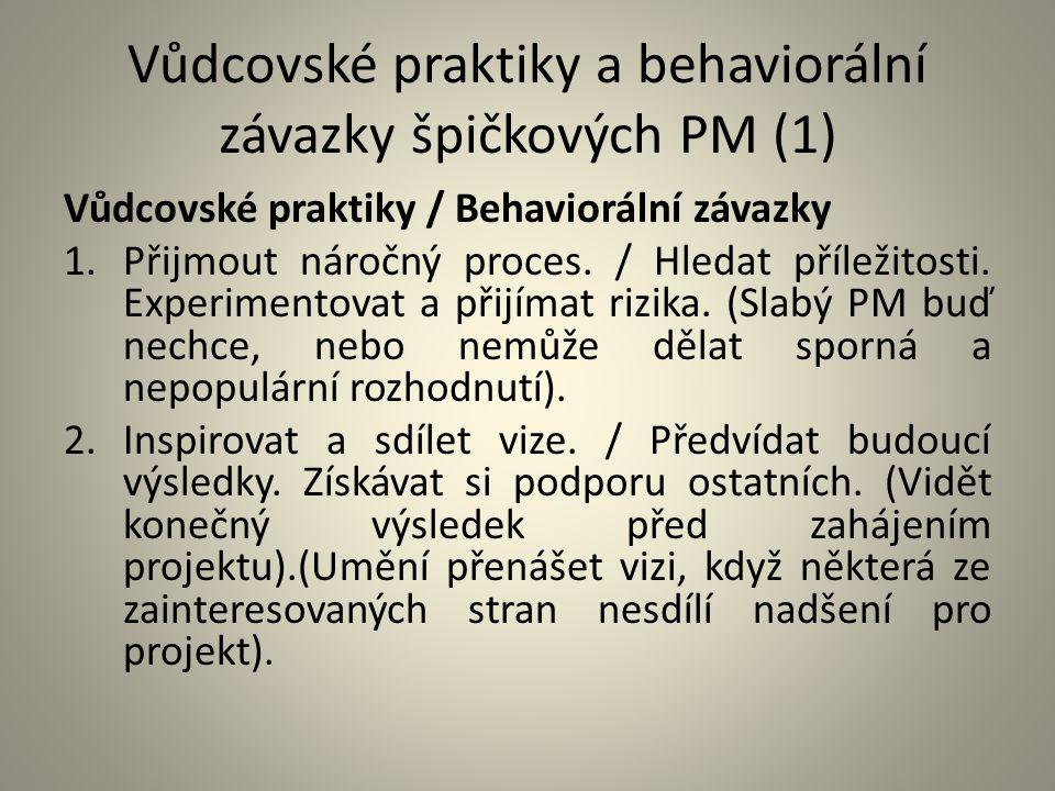 Vůdcovské praktiky a behaviorální závazky špičkových PM (1) Vůdcovské praktiky / Behaviorální závazky 1.Přijmout náročný proces. / Hledat příležitosti