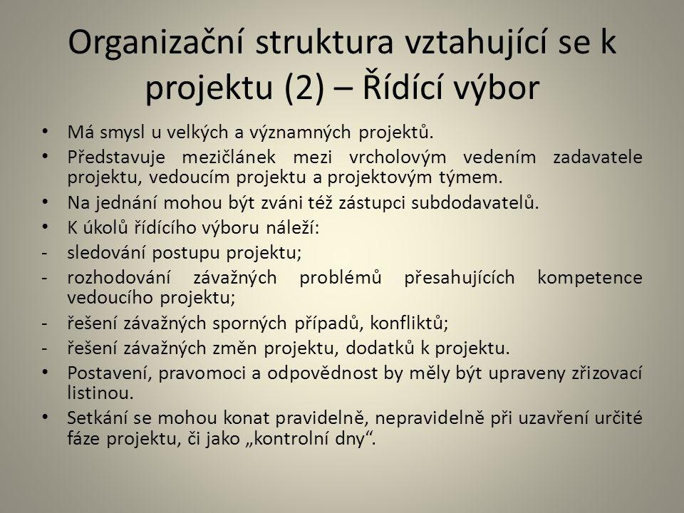 Organizační struktura vztahující se k projektu (2) – Řídící výbor Má smysl u velkých a významných projektů. Představuje mezičlánek mezi vrcholovým ved