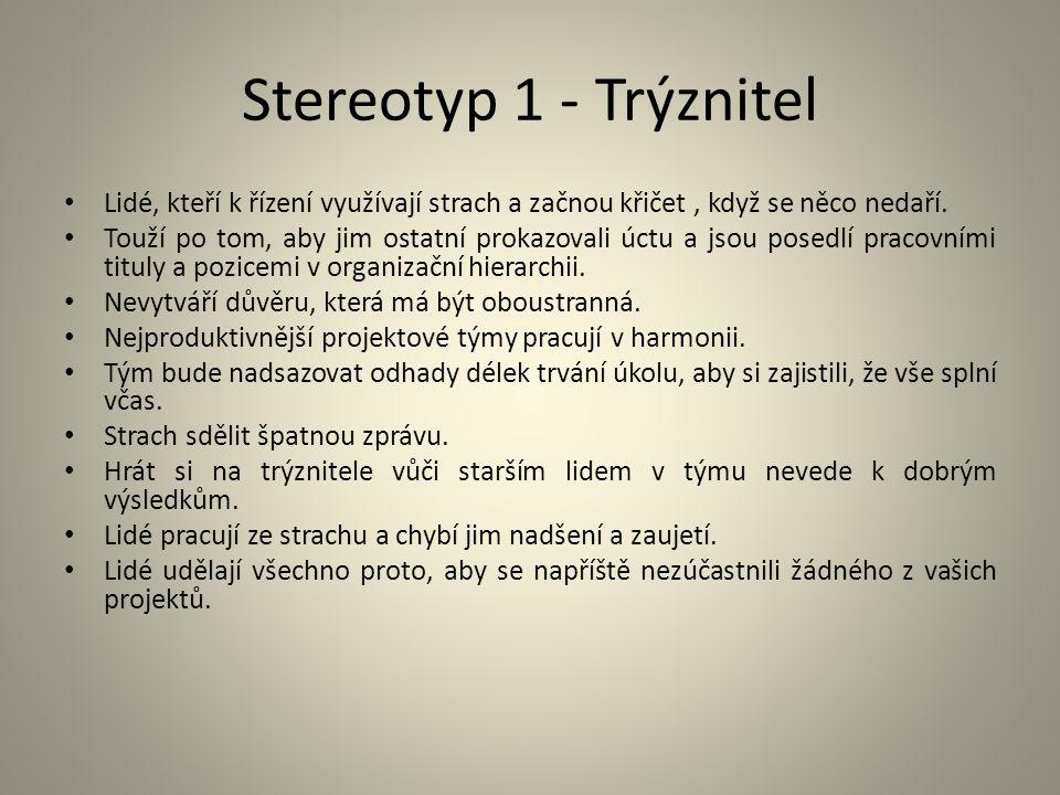 Stereotyp 1 - Trýznitel Lidé, kteří k řízení využívají strach a začnou křičet, když se něco nedaří. Touží po tom, aby jim ostatní prokazovali úctu a j