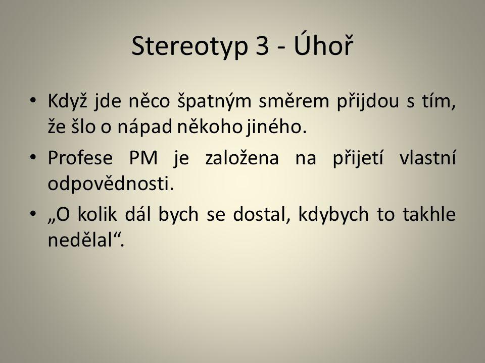 """Stereotyp 3 - Úhoř Když jde něco špatným směrem přijdou s tím, že šlo o nápad někoho jiného. Profese PM je založena na přijetí vlastní odpovědnosti. """""""