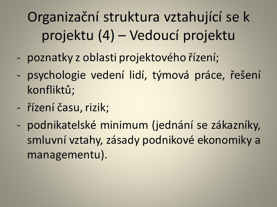 Organizační struktura vztahující se k projektu (5) – Vedoucí projektu Osobní vlastnosti: -autorita, rozhodnost, přesvědčivost, důvěryhodnost; -flexibilita, adaptabilita, schopnost improvizace; -organizační schopnosti – koncepčnost, systémové myšlení; -komunikační schopnosti; -vůdcovství a schopnost vést tým, často složený z výrazných osobností.