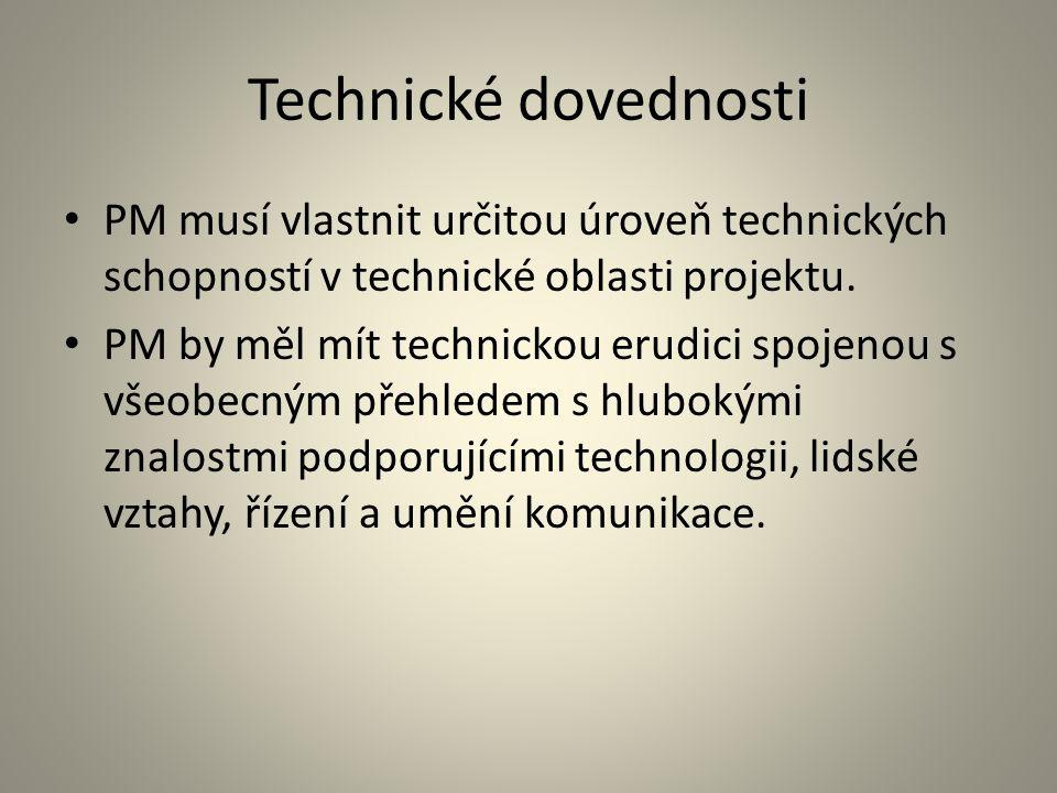 Technické dovednosti PM musí vlastnit určitou úroveň technických schopností v technické oblasti projektu. PM by měl mít technickou erudici spojenou s