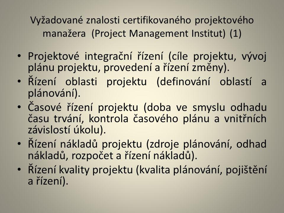 Vyžadované znalosti certifikovaného projektového manažera (Project Management Institut) (1) Projektové integrační řízení (cíle projektu, vývoj plánu p