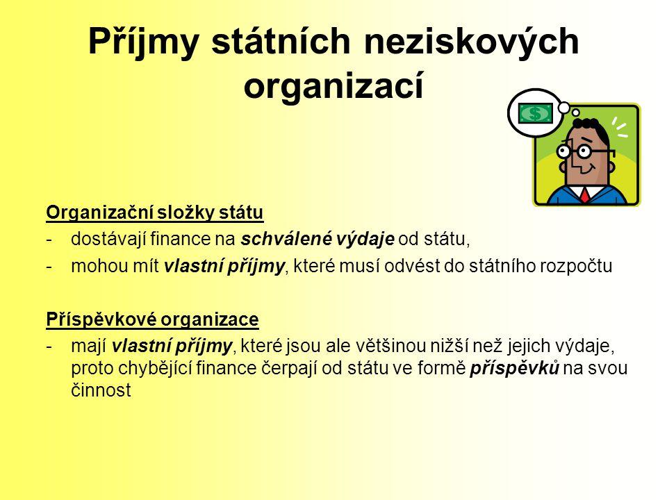 Příjmy státních neziskových organizací Organizační složky státu -dostávají finance na schválené výdaje od státu, -mohou mít vlastní příjmy, které musí