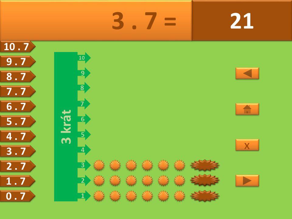 3 krát 1 2 3 4 5 6 7 8 9 10 21 14 7 7 3. 7 = 21 x x 6.