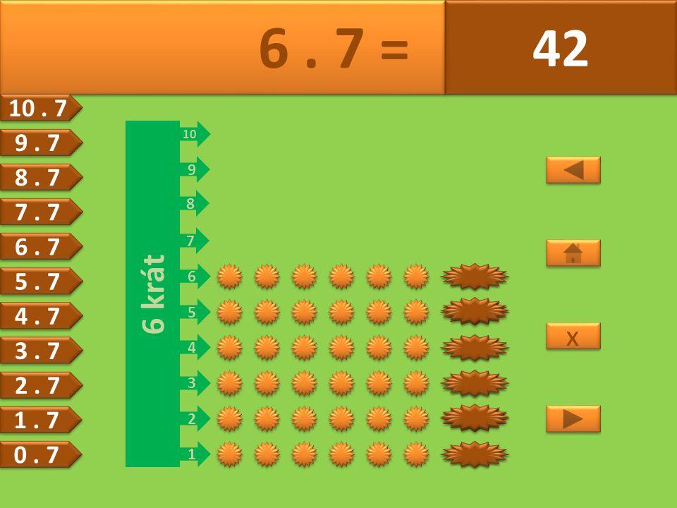 6 krát 1 2 3 4 5 6 7 8 9 10 21 28 35 42 14 7 7 6. 7 = 42 x x 6.