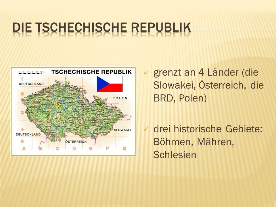 die Oberfläche ist bergig die Gebirge bilden die Naturgrenze unserer Republik die Westgrenze bildet das Erzgebirge im Riesengebirge befindet sich unser höchster Gipfel - die Schneekoppe (1602) an der tschechisch – polnischen Grenze liegen das Isergebirge, das Adlergebirge und das Altvatergebirge die Grenze gegen die Slowakei bilden die Beskiden und die Weiβen Karpaten im Süden liegt der Böhmerwald, hier befinden sich zwei Gletscherseen – der Teufelsee und der Schwarze See