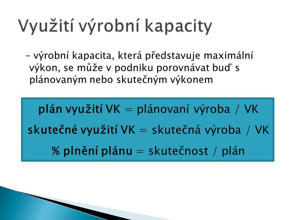 - výrobní kapacita, která představuje maximální výkon, se může v podniku porovnávat buď s plánovaným nebo skutečným výkonem plán využití VK = plánovan
