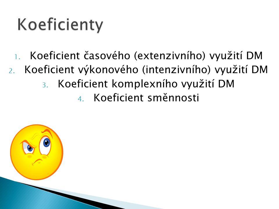 1. Koeficient časového (extenzivního) využití DM 2. Koeficient výkonového (intenzivního) využití DM 3. Koeficient komplexního využití DM 4. Koeficient