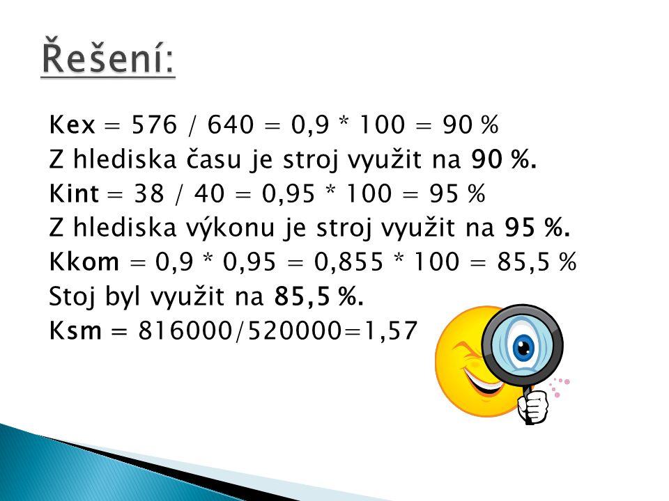 Kex = 576 / 640 = 0,9 * 100 = 90 % Z hlediska času je stroj využit na 90 %. Kint = 38 / 40 = 0,95 * 100 = 95 % Z hlediska výkonu je stroj využit na 95