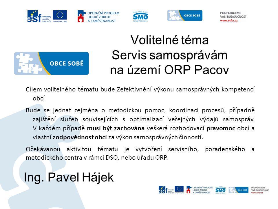 Volitelné téma Servis samosprávám na území ORP Pacov Ing. Pavel Hájek Cílem volitelného tématu bude Zefektivnění výkonu samosprávných kompetencí obcí