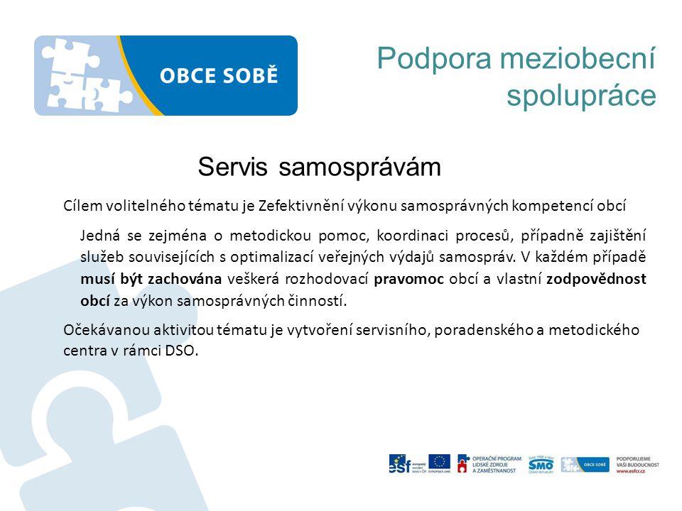 Podpora meziobecní spolupráce Servis samosprávám Cílem volitelného tématu je Zefektivnění výkonu samosprávných kompetencí obcí Jedná se zejména o metodickou pomoc, koordinaci procesů, případně zajištění služeb souvisejících s optimalizací veřejných výdajů samospráv.