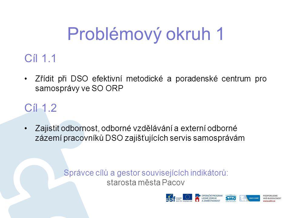 Problémový okruh 1 Cíl 1.1 Zřídit při DSO efektivní metodické a poradenské centrum pro samosprávy ve SO ORP Cíl 1.2 Zajistit odbornost, odborné vzdělá