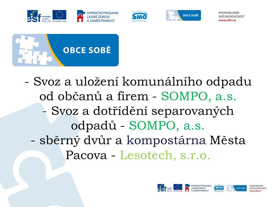 - Svoz a uložení komunálního odpadu od občanů a firem - SOMPO, a.s.