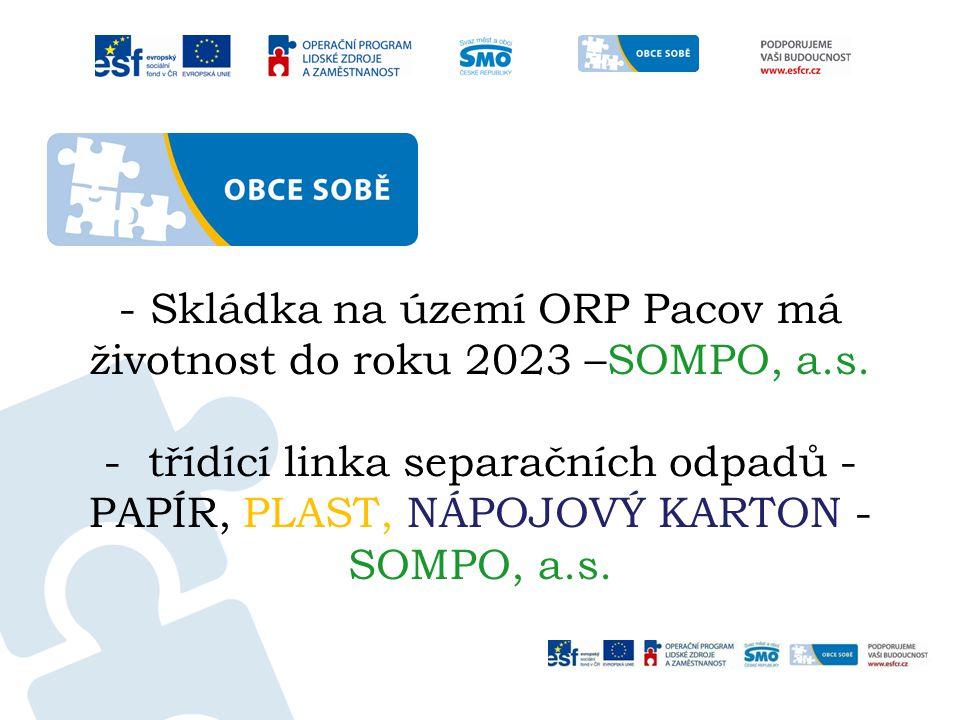 - Skládka na území ORP Pacov má životnost do roku 2023 –SOMPO, a.s. - třídící linka separačních odpadů - PAPÍR, PLAST, NÁPOJOVÝ KARTON - SOMPO, a.s.