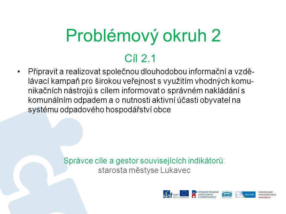 Problémový okruh 2 Cíl 2.1 Připravit a realizovat společnou dlouhodobou informační a vzdě- lávací kampaň pro širokou veřejnost s využitím vhodných kom