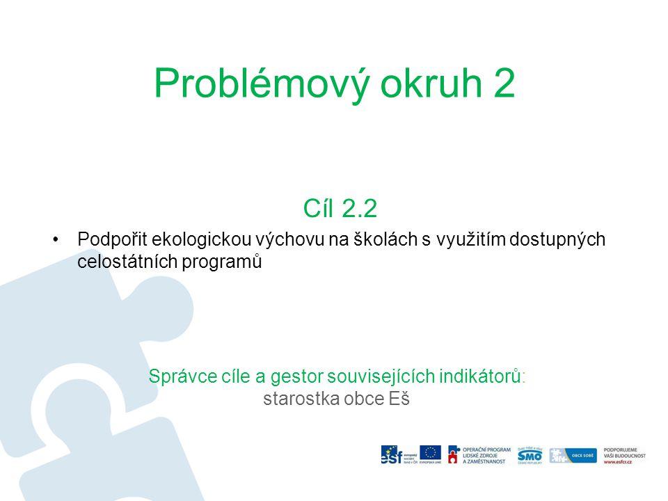 Problémový okruh 2 Cíl 2.2 Podpořit ekologickou výchovu na školách s využitím dostupných celostátních programů Správce cíle a gestor souvisejících ind