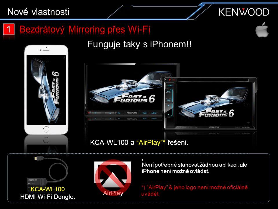 """Funguje taky s iPhonem!!, Není potřebné stahovat žádnou aplikaci, ale iPhone není možné ovládat. *) """"AirPlay"""" & jeho logo není možné oficiálně uvádět."""