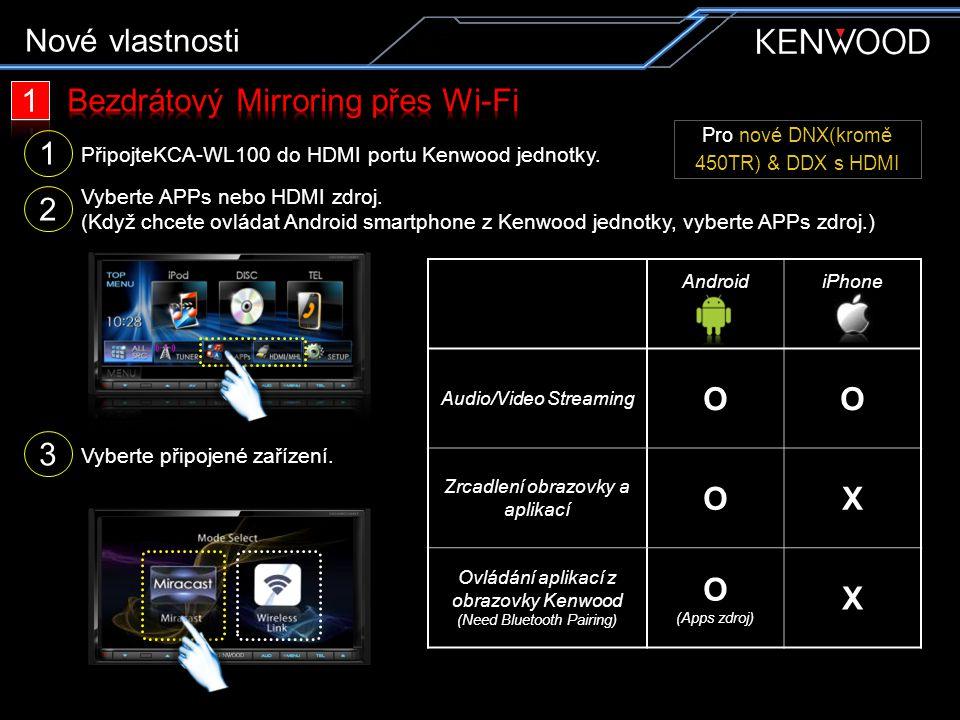 PřipojteKCA-WL100 do HDMI portu Kenwood jednotky. 2 Vyberte APPs nebo HDMI zdroj. (Když chcete ovládat Android smartphone z Kenwood jednotky, vyberte